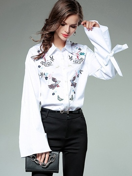 Ericdress Embroidery Single-Breasted Flare Sleeve Blouse