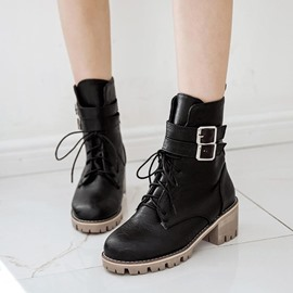 Ericdress Buckle Lace-Up Front Plain Ankle Boots