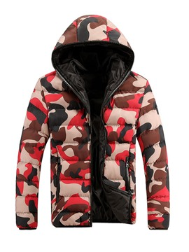 Ericdress Camouflage Hooded Zip Down Slim Men's Winter Coat