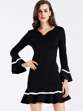 Ericdress V-Neck Ruffle Sleeves Sweater A Line Dress