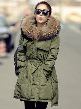 Ericdress Plain Mid-Length Hooded Coat