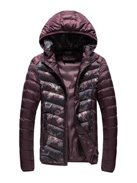 Ericdress Camouflage Hooded Zipper Down Slim Men's Winter Coat