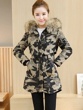 Ericdress Camouflage Mid-Length Fur Hooded Coat