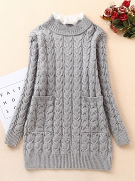 ericdress plain stricken heding dicker Mid-length Pullover