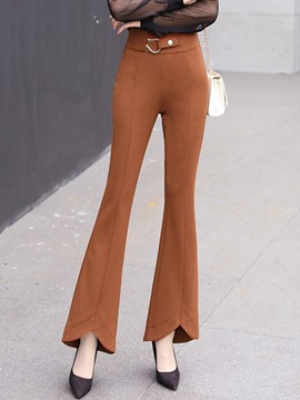 Ericdress Slim High-Waist Bell Bottom Women's Elegant Pants