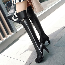 Ericdress Sequin Purfle Plain Knee High Boots
