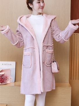 Ericdress Plain Thick Mid-Length Pocket Hooded Coat