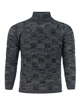 Ericdress Plaid High Neck Casual Slim Men's Pullover Sweater