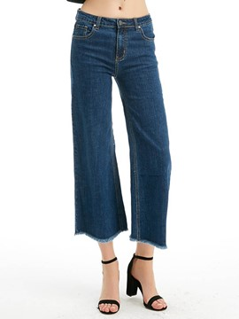 Ericdress Wide Leg Plain Denim Women's Jeans