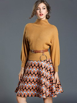 Ericdress Turtle-Neck Pullover and Print Skirt Women's 2-Piece Set