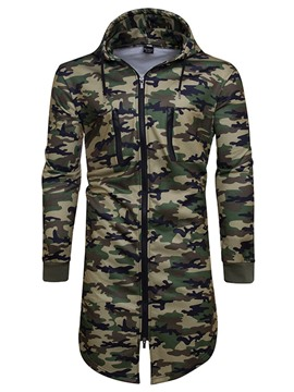Ericdress Camouflage Zip Hooded Unique Slim Men's Hoodie