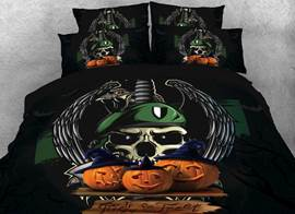 Vivilinen 3D Halloween Pumpkin and Skull Printed 4-Piece Bedding Sets/Duvet Covers