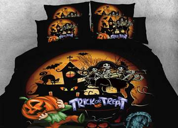 Vivilinen Skull and Halloween Party Printed 4-Piece 3D Bedding Sets/Duvet Covers