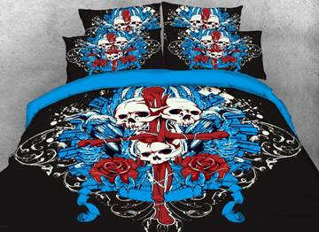 Vivilinen 3D Halloween Skull and Cross Printed 4-Piece Bedding Sets/Duvet Covers