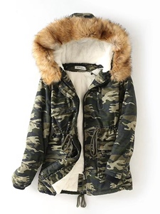 Ericdress Mid-Length Camouflage Print Hooded Coat