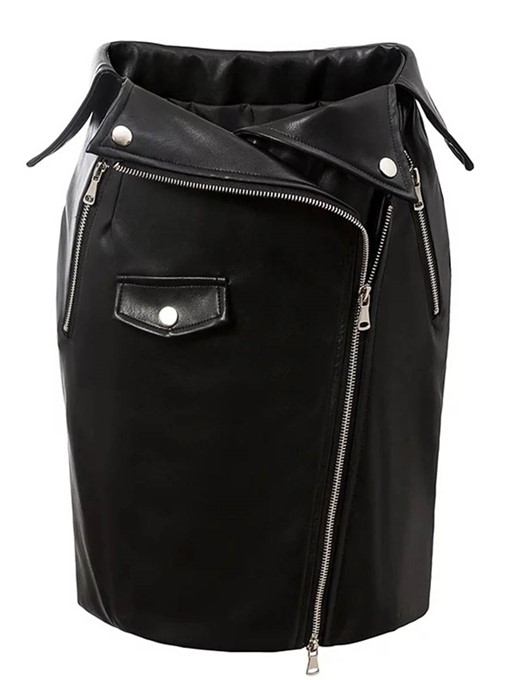 Ericdress Slim PU Zipper Asymmetric Women's Mini Skirt