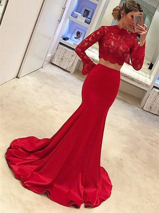 Ericdress Two Pieces Long Sleeve Lace Red Evening Dress