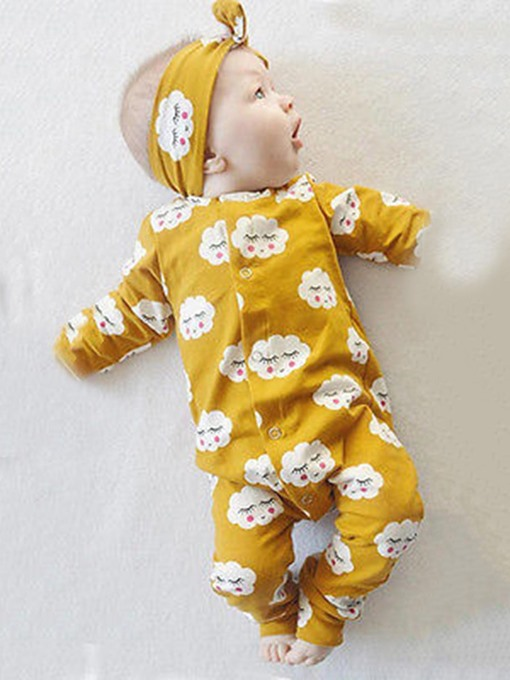 Ericdress Lovely Clouds Print Siamese Baby Girl's Clothing