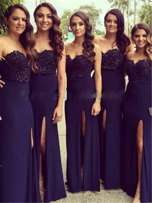 Strapless Lace Sleeveless Floor-Length Bridesmaid Dress 2019
