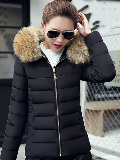 Ericdress Slim Plain Short Faux Fur Hooded Down Coat