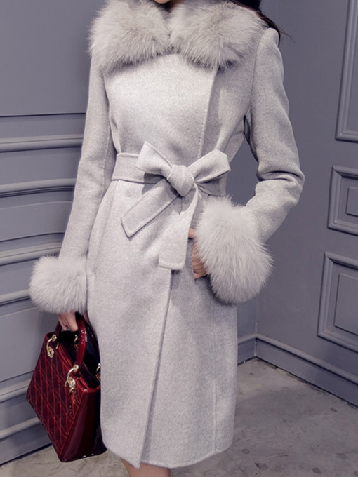 Ericdress Lapel Hidden Button Lace-Up Coat