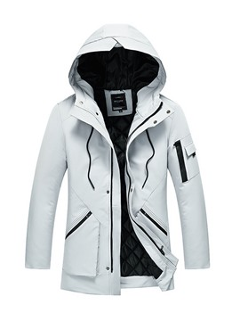 Ericdress Plain Hooded Zip Thicken Warm Slim Men's Winter Coat