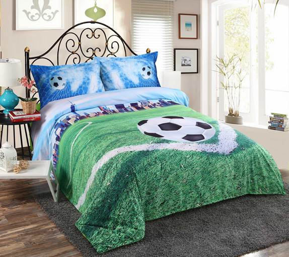 Vivilinen 3D Soccer Field and City Scenery Printed 4-Piece Bedding Sets/Duvet Covers