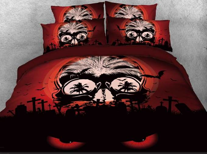 Vivilinen 3D Halloween Spooky Skull Printed 4-Piece Bedding Sets/Duvet Covers