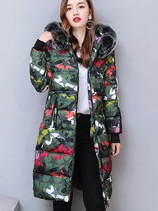 Ericdress Mid-Length Camouflage Fur Hooded Coat
