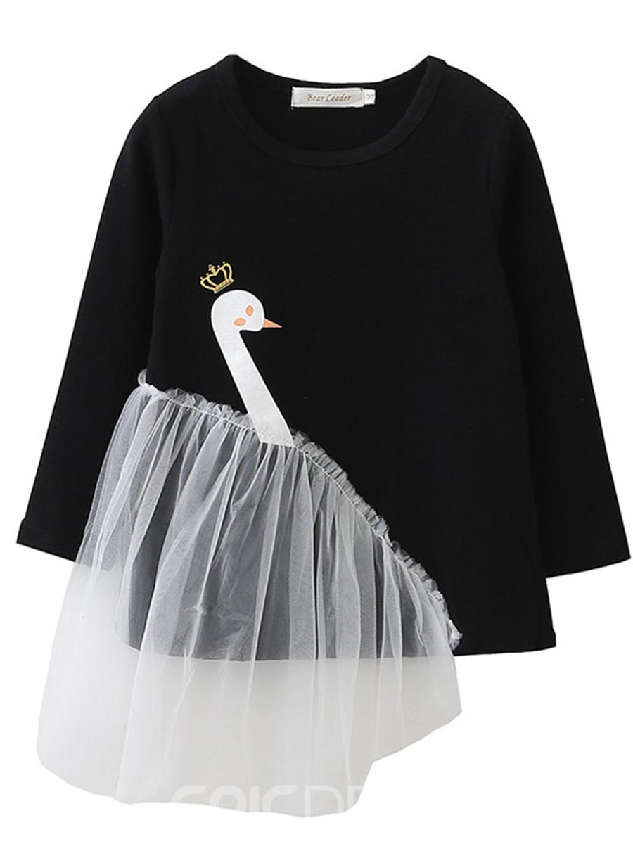 Ericdress Fashion Cartoon Swan Print Mesh Patchwork Baby Girls Sweater