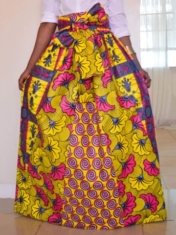 Ericdress Pleated Dashiki Print Women's Skirt