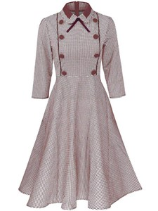 Ericdress Vintage Houndstooth Lapel Button A-Line Dress