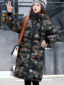 Ericdress Mid-Length Camouflage Loose Hooded Coat