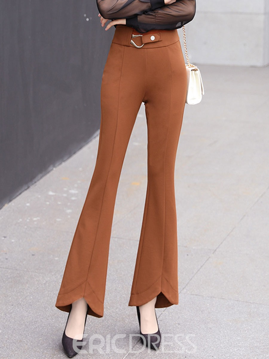 Ericdress Slim High-waist Bell Bottom Womens Elegant Pants