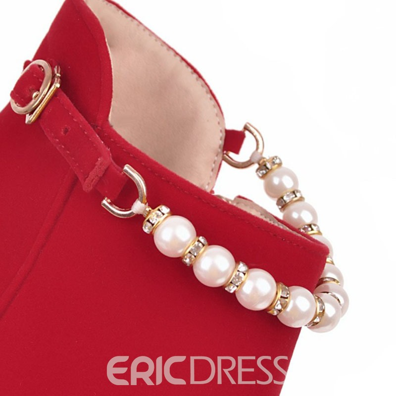 Ericdress Fashion Buckle Platform High Heel Boots with Beads
