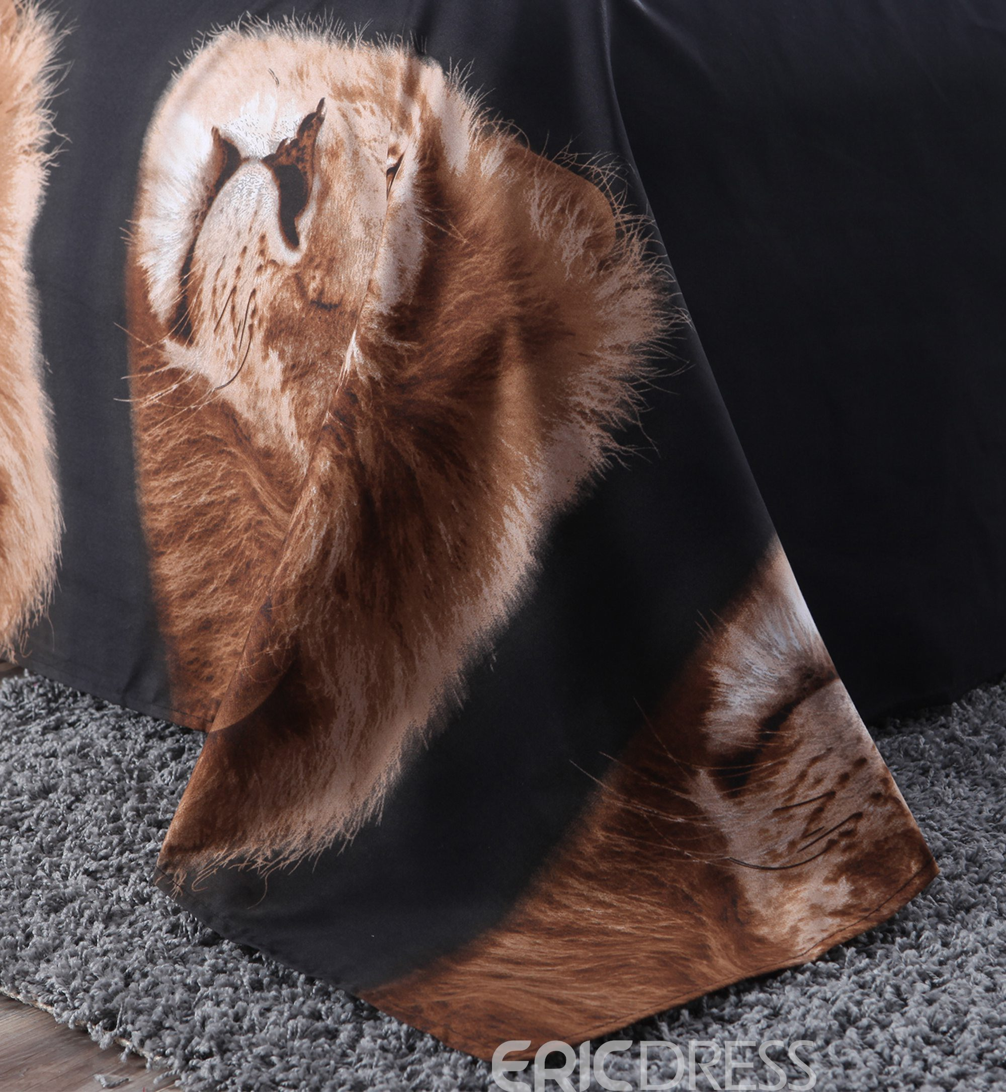 Vivilinen Golden Lion Head 3D Printed Polyester 4-Piece Bedding Sets