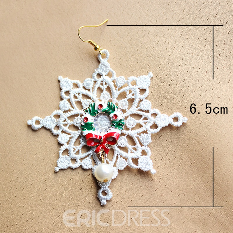 Ericdress White Lace Fashion Earring for Christmas