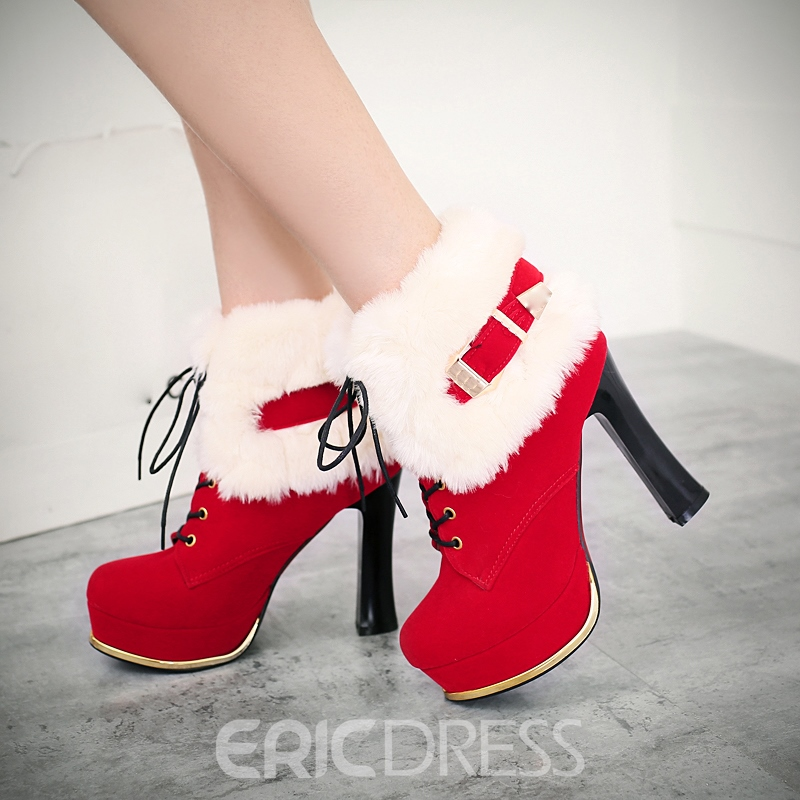 Ericdress Fuzzy Color Block Platform High Heel Boots with Buckle