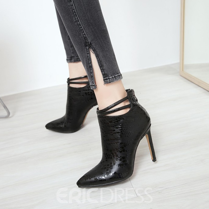 Ericdress Fashion Pointed Toe Back Zip Stiletto Heel Boots