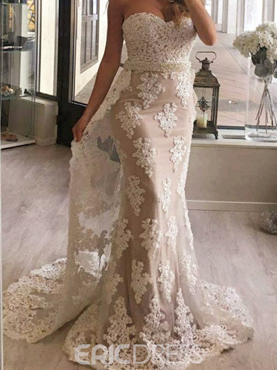 Ericdress Appliques Beaded Mermaid Evening Dress With Train