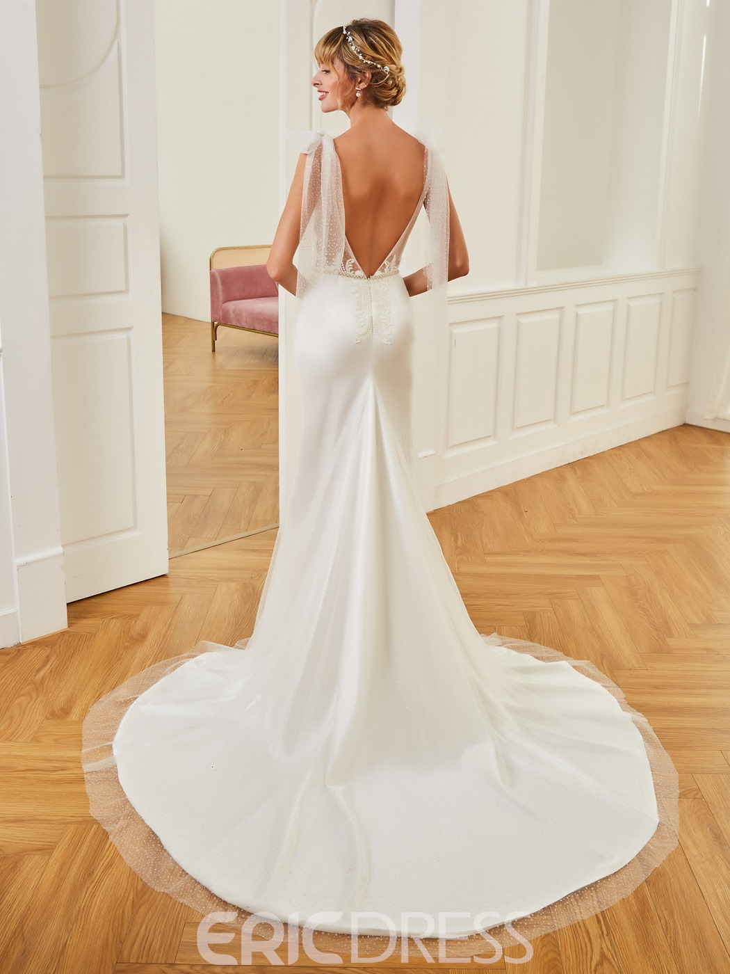 Ericdress V Neck Mermaid Backless Tulle Wedding Dress