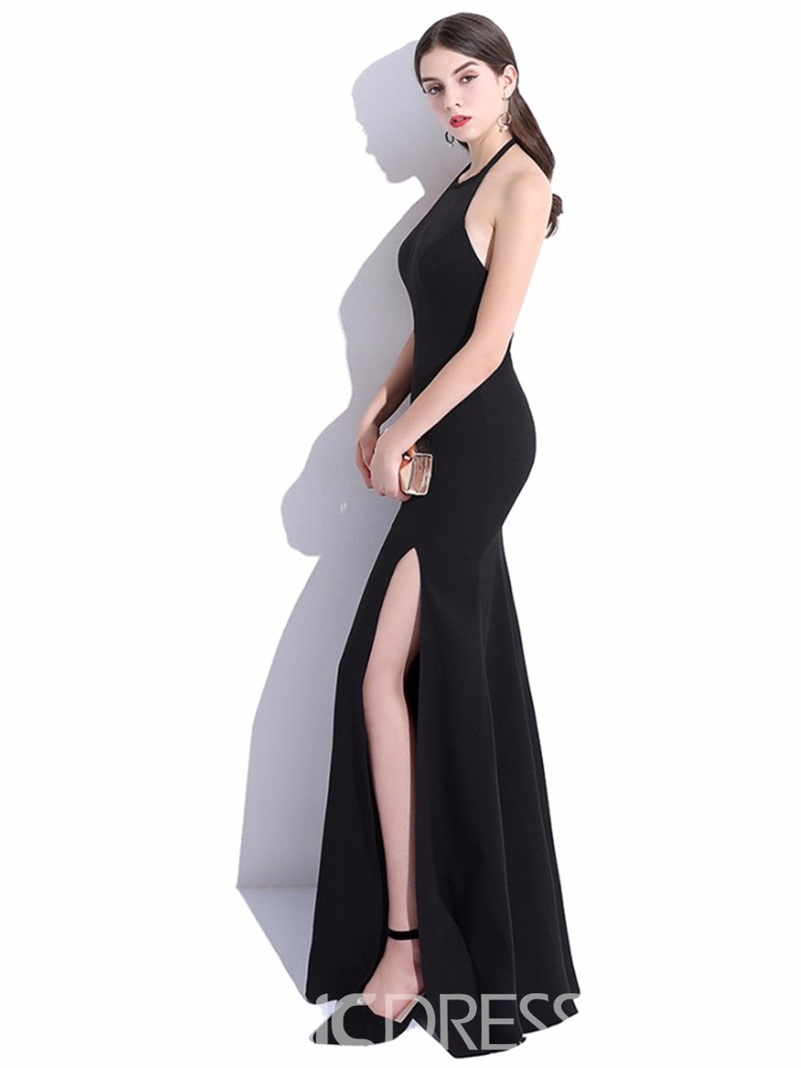Ericdress Halter Mermaid Long Evening Dress With Side Slit