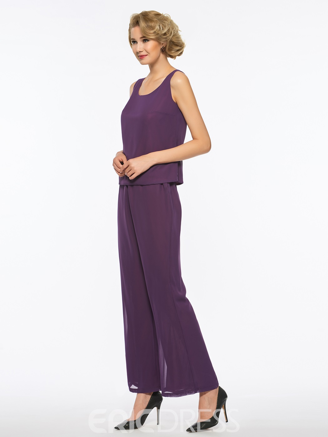 Ericdress Scoop Chiffon Long Sleeves Mother of The Bride Jumpsuit