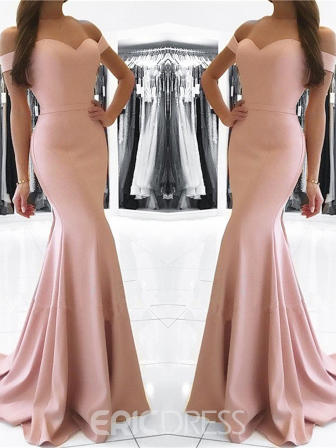 Ericdress Off The Shoulder Short Sleeve Mermaid Evening Dress With Train