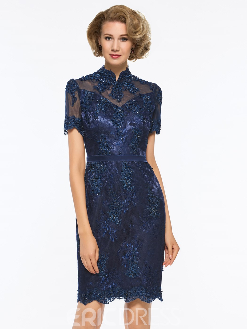 a59cb6cd076 Ericdress Short Sleeves High Neck Vintage Sheath Knee Length Mother of The Bride  Dress(13005391)