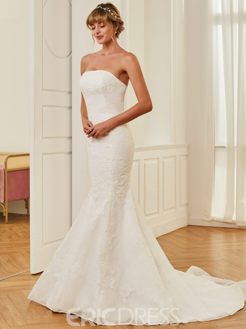 Ericdress Strapless Appliques Mermaid Wedding Dress