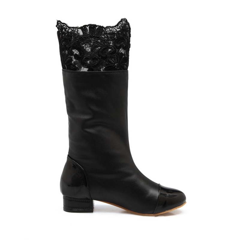 ericdress runde Zehenblockabsatz-Slip-on-Bow-Boots