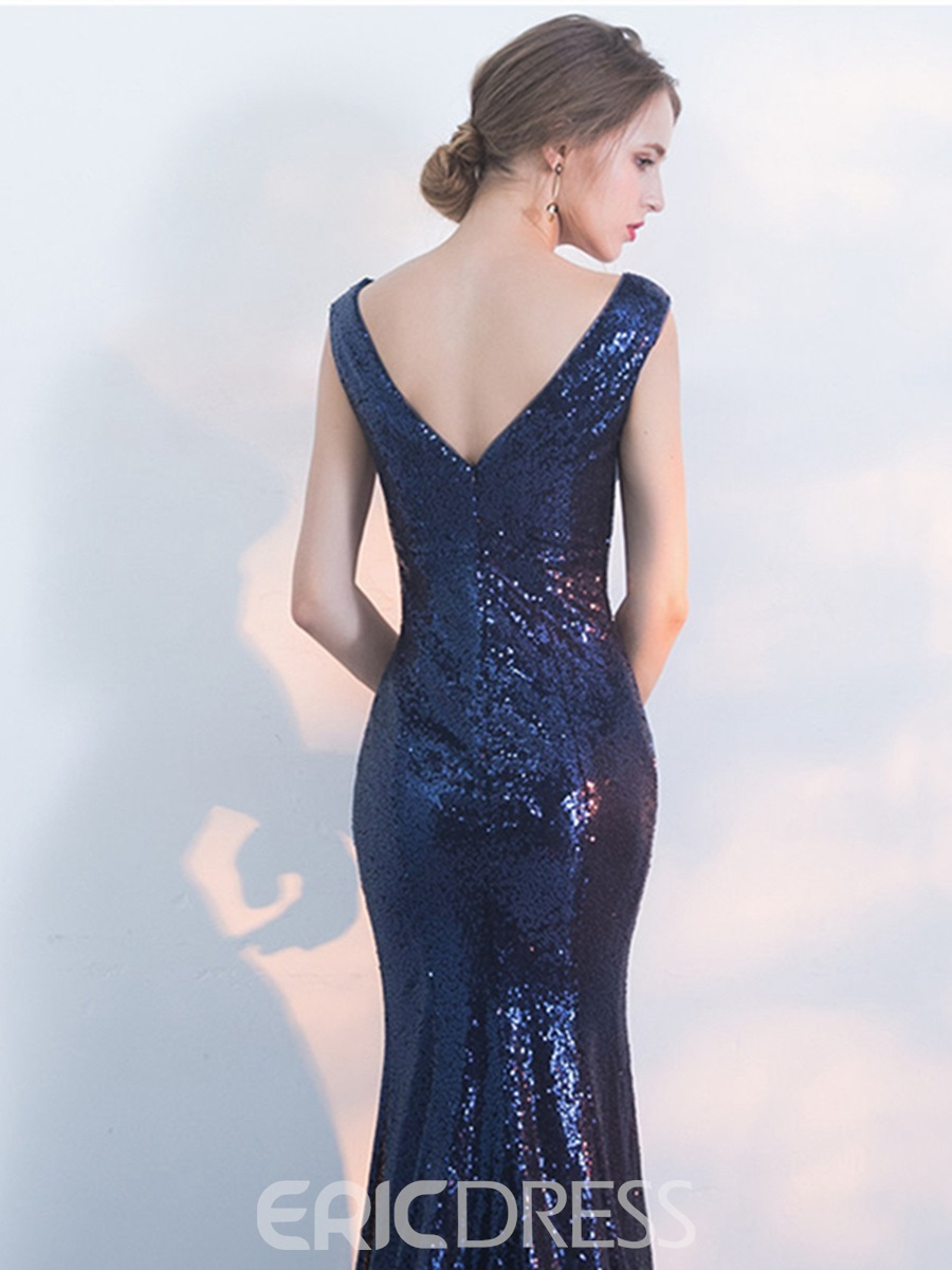 Ericdress V-Neck Sequins Mermaid Evening Dress With Split-Front