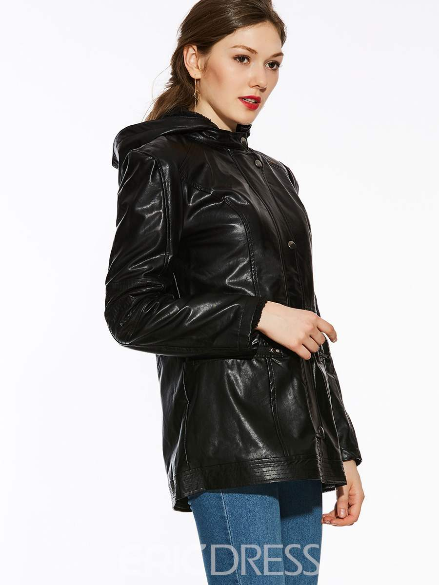 Ericdress Thick Warm Faux Leather Coat