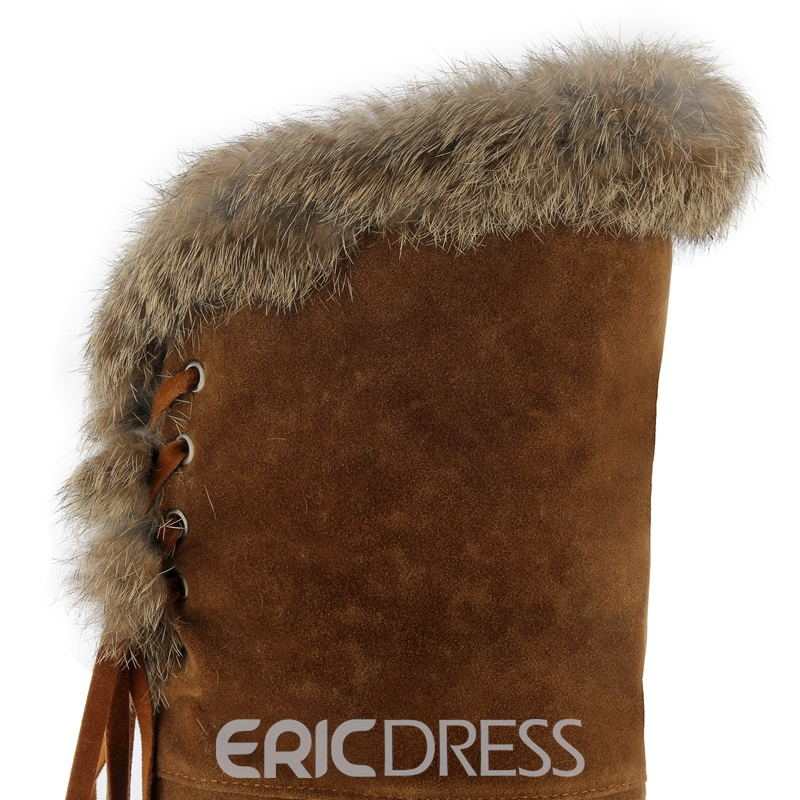 Ericdress Fuzzy Lace-Up Plain Knee High Boots